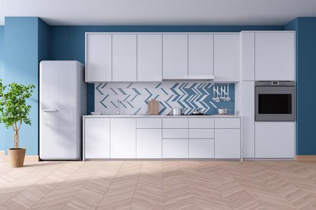 Design de interiores de sala moderna cozinha azul luxuoso, armários brancos e parede azul, 3drender