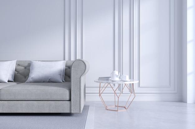 Design de interiores de sala moderna e clássica, conceito de quarto branco e acolhedor