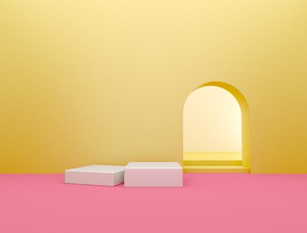 Design de interiores de sala vazia de parede amarela com piso rosa, palco para exposição de produtos