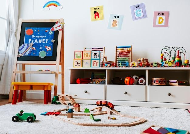 Design de interiores de uma sala de aula do jardim de infância