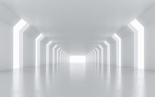 Design de interiores do corredor iluminado. renderização 3d.