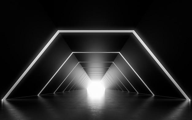 Design de interiores do corredor iluminado. renderização 3d