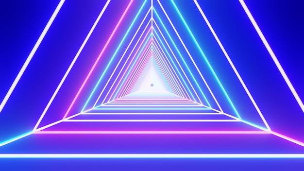 Design de interiores do corredor iluminado túnel, luzes brilhantes de néon