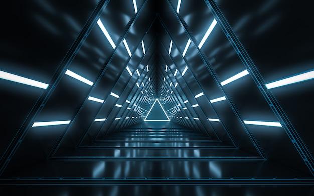 Design de interiores do corredor vazio iluminado abstrato