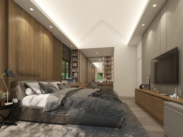 Design de interiores do quarto, renderização em 3d