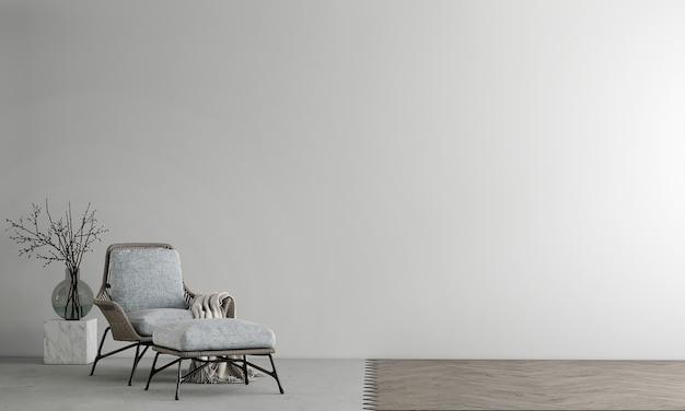Design de interiores e sala de estar mínimos, parede de concreto vazia e piso de madeira