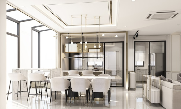 Design de interiores, estilo clássico moderno da área de jantar e despensa com mármore branco e textura dourada e conjunto de móveis brancos renderização em 3d.