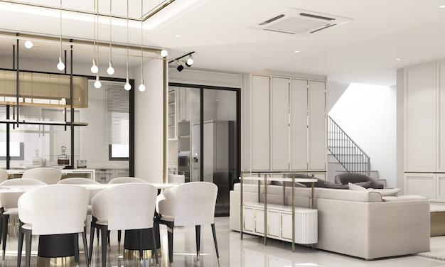 Design de interiores, estilo clássico moderno de área de jantar com mármore branco e textura dourada e móveis brancos com renderização 3d interna