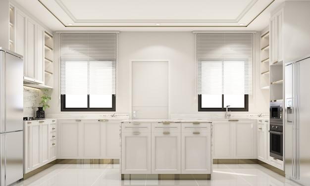 Design de interiores, estilo clássico moderno de cozinha com mármore branco e textura dourada e móveis brancos integrados com renderização em 3d