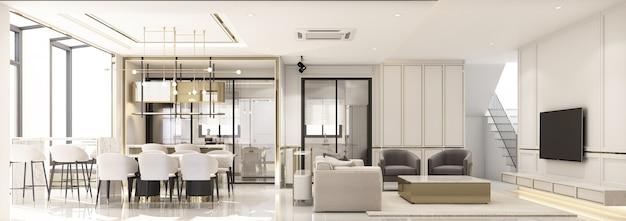 Design de interiores, estilo clássico moderno de sala de estar e sala de jantar com mármore branco e textura dourada e móveis brancos integrados com renderização 3d panorama interior