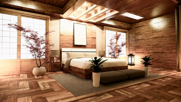 Design de interiores japonês do quarto. renderização 3d