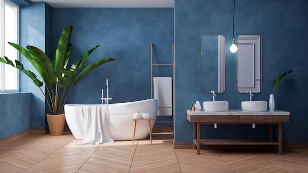 Design de interiores luxuoso banheiro moderno, banheira branca na parede azul escuro do grunge, 3d render