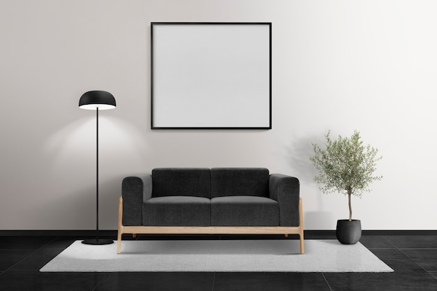Design de interiores minimalista de sala de estar com moldura em branco