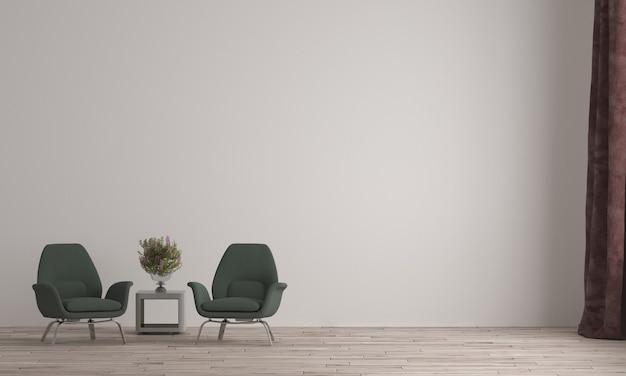 Design de interiores minimalista de sala de estar e poltronas verdes e fundo de parede com textura branca