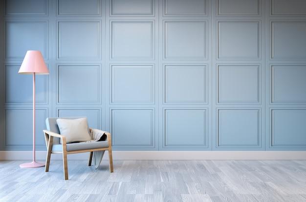 Design de interiores minimalista, poltrona verde claro com abajur rosa