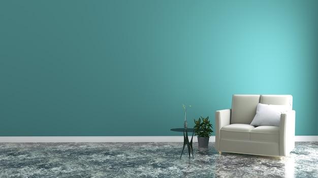 Design de interiores minimalista, sofá cinza claro com lâmpada na parede de menta e piso de madeira