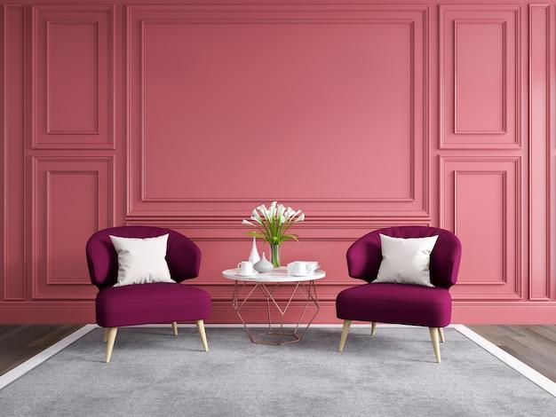 Design de interiores moderna e clássica sala de estar, renderização em 3d