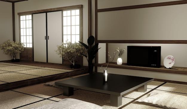Design de interiores, moderna sala de estar com mesa no tatame piso estilo japonês. renderização em 3d