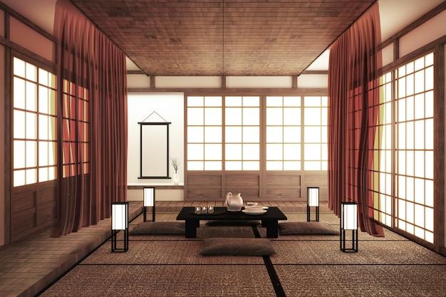 Design de interiores, moderna sala de estar com mesa, piso de tatami estilo japonês. renderização em 3d