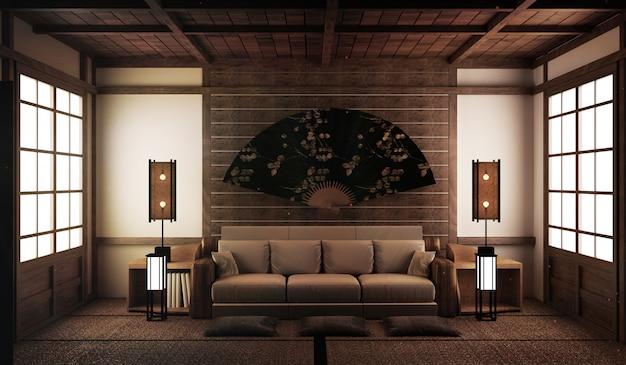 Design de interiores, moderna sala de estar com sofá no tapete de tatami e japonês tradicional