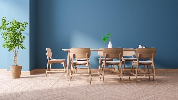 Design de interiores moderno azul sala de jantar, conjuntos de móveis de madeira na parede azul e piso de madeira, 3drender