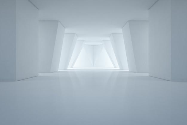 Design de interiores moderno da sala de exposições com piso vazio e parede branca