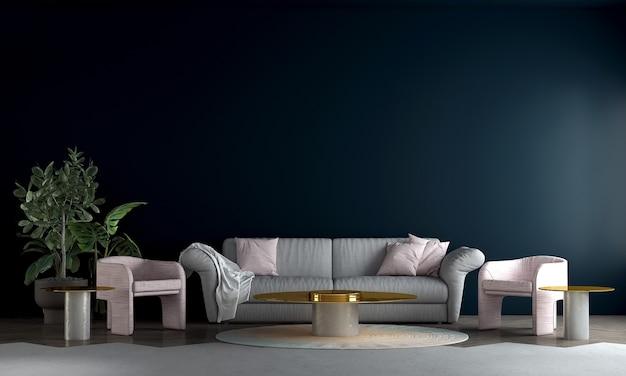 Design de interiores moderno de meados do século com sala de estar minimalista e fundo com padrão de parede azul