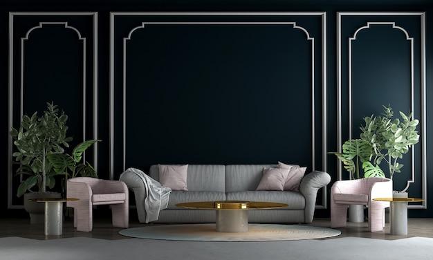 Design de interiores moderno de meados do século de sala de estar e fundo azul padrão de parede