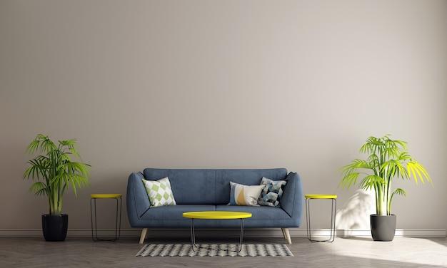 Design de interiores moderno de meados do século de sala de estar e fundo bege de parede padrão, renderização em 3d