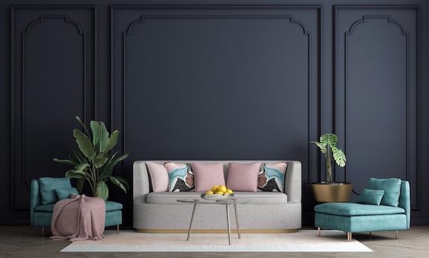 Design de interiores moderno de meados do século de sala de estar e fundo de padrão de parede azul, renderização em 3d