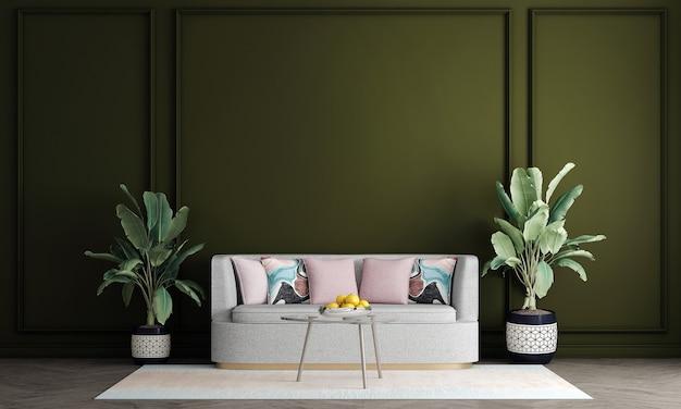 Design de interiores moderno de meados do século de sala de estar e fundo de padrão de parede verde, renderização em 3d