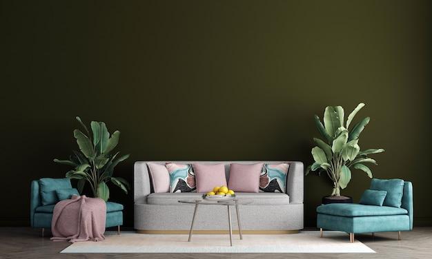 Design de interiores moderno de meados do século de sala de estar e fundo verde padrão de parede, renderização em 3d