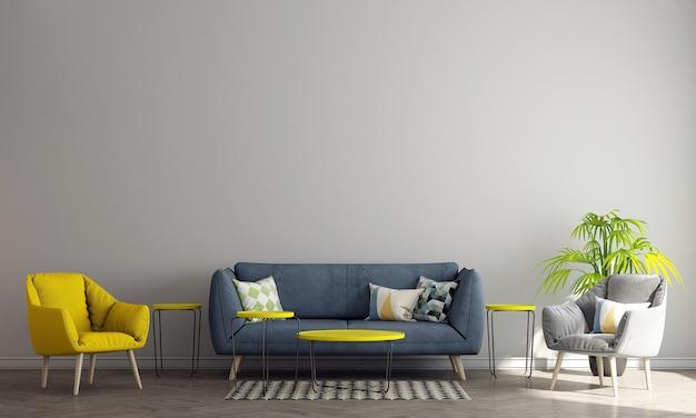 Design de interiores moderno de meio século de sala de estar e fundo branco padrão de parede, renderização em 3d