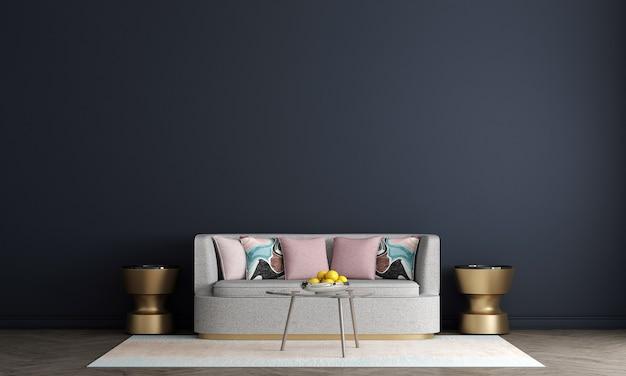 Design de interiores moderno de sala de estar e fundo de padrão de parede verde, renderização em 3d