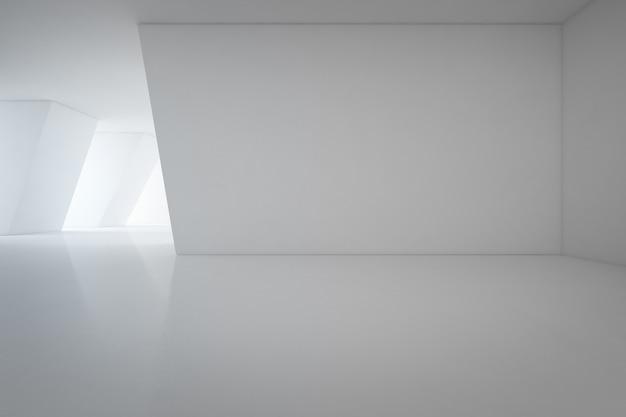 Design de interiores moderno de showroom com piso vazio e fundo de parede branca - renderi 3d