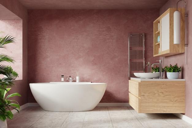Design de interiores moderno do banheiro na parede escura da cor de sonic.