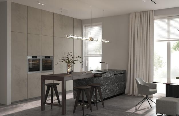 Design de interiores moderno do minimalismo. sala de cozinha estúdio com ilha de cozinha e cadeiras. renderização 3d. ilustração 3d.