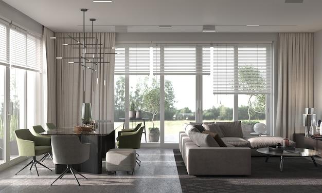 Design de interiores moderno do minimalismo. sala de estar, cozinha e sala de jantar. renderização 3d. ilustração 3d.