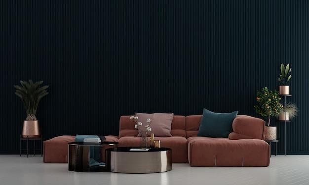 Design de interiores moderno e aconchegante de sala de estar e fundo de textura de parede azul