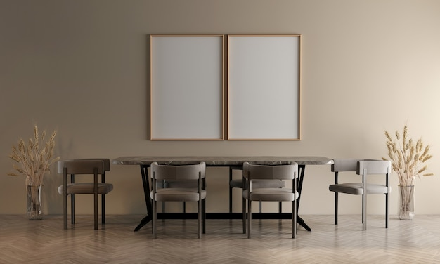 Design de interiores moderno e aconchegante de sala de jantar e fundo de parede de textura bege e moldura de lona vazia