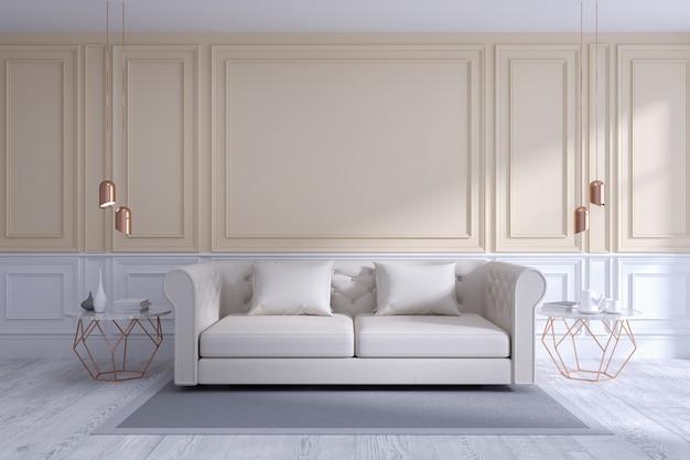Design de interiores moderno e clássico de sala de estar, branco e aconchegante conceito de quarto
