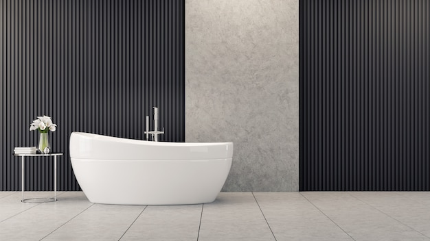 Design de interiores moderno e loft banheiro, banheira branca é perto de flor na mesa na parede de sarrafos pretos
