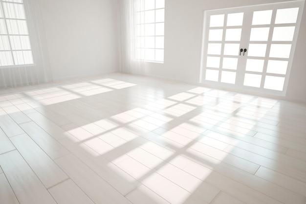 Design de interiores moderno quarto branco vazio