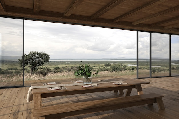 Design de interiores moderno terraço ao ar livre mesa de jantar e vista da natureza ilustração 3d render