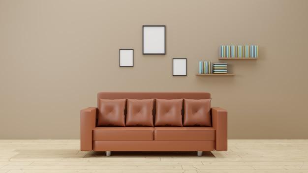 Design de interiores para 3 porta-retratos em simulação de sala de estar com estante de sofá marrom. renderização em 3d