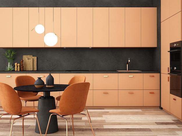 Design de interiores para área de cozinha em estilo moderno