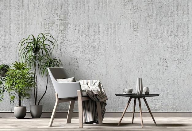 Design de interiores para sala de estar ou recepção com poltrona, planta. 3d render