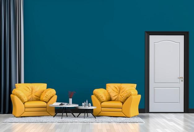 Design de interiores para sala de estar ou recepção com sofá, poltrona. 3d render