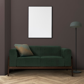 Design de interiores retrô de sala de estar com sofá moderno de meados do século