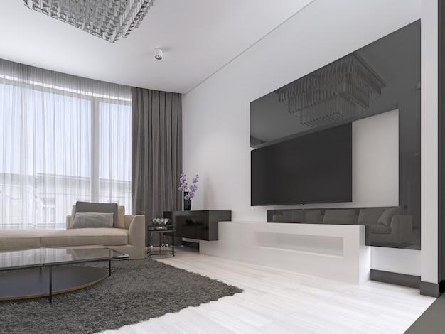 Design de interiores: sala de estar com um grande sofá de canto e uma unidade de tv em estilo contemporâneo. renderização 3d